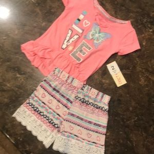 NWT, little girls 2 piece pink outfit
